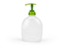 Plastic Bottle with liquid soap on a white background.  Royalty Free Stock Images