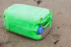 Plastic bottle litter on the beach Stock Images