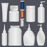 Plastic Bottle and Lotion Plastic Tube Stock Images