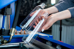 Plastic bottle making process royalty free stock images