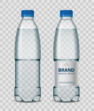 Plastic bottle with mineral water with blue cap on transparent background. Realistic bottle mockup vector illustration. Plastic bottle with mineral water with Stock Photography