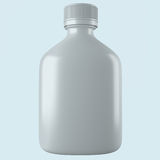 Plastic bottle mockup. Gray clear flask with reflection  on background. 3d rendering image Royalty Free Stock Photography