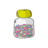 Plastic bottle with pills. Vector illustration. Bottle with pills. Vector illustration. Medicine  illustration in modern cartoon style Stock Photo