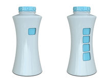Plastic bottle with place for fingers white-blue Stock Photo