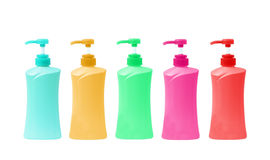 Plastic Bottle pump Of Gel, Liquid Soap, Lotion, Cream, Shampoo Stock Photos