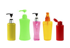 Plastic Bottle pump Of Gel, Liquid Soap, Lotion, Cream, Shampoo Stock Images