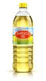 Plastic bottle with rapeseed oil Stock Photo