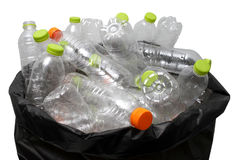 Plastic bottle recycling. In bag Stock Photos