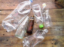 Plastic bottle recyecle. Botton clear on wood Royalty Free Stock Photo