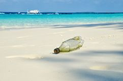 Plastic bottle on sand beach. Plastic pollution of nature. Ecology and environment concept. Waste emission to ocean royalty free stock photo