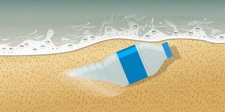 Plastic bottle on seashore no plastic and pollution concept advertisement template composition. Vector Illustration. Plastic bottle on seashore no plastic and vector illustration