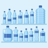 Plastic bottle set vector illustration. Different sizes of cartoon containers for water and other liquids. Shelf with. Blue empty bottles banner,poster royalty free illustration