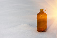 Plastic bottle in the snow Royalty Free Stock Photos
