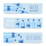 Plastic bottle vector illustration. Different sizes of cartoon containers for water and other liquids. Blue empty. Bottles set of banners poster brochure. Clean royalty free illustration