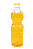 Plastic bottle with vegetable oil. On a white background Royalty Free Stock Image