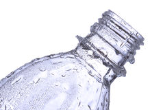 Plastic bottle with water drops Stock Image