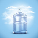 Plastic bottle with water drops. Recycling concept on blue sky background Stock Photos