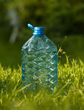 Plastic bottle of water on the grass Royalty Free Stock Photos