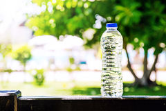 Plastic bottle with water standing on a summer, trees and pool on a background Royalty Free Stock Images