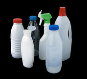Plastic bottles. Group of plastic bottles isolated on black whith clipping path Stock Photos