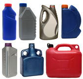 Plastic bottles from automobile oils isolated on Stock Photo