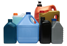Plastic bottles from automobile oils isolated on Stock Image