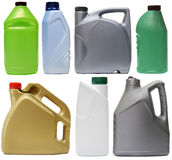 Plastic bottles from automobile oils isolated on Stock Photos