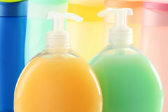 Plastic bottles of body care and beauty products Stock Photo