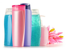 Plastic bottles of body care and beauty products Stock Image