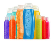 Plastic bottles of body care and beauty products Stock Photography