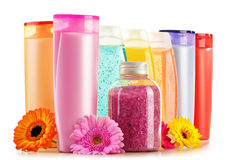 Plastic bottles of body care and beauty products Royalty Free Stock Photo
