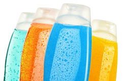 Plastic bottles of body care and beauty products Stock Photos