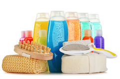 Plastic bottles of body care and beauty products Royalty Free Stock Images