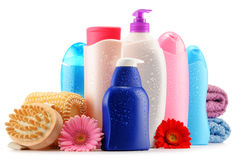 Plastic bottles of body care and beauty products over white Royalty Free Stock Photography