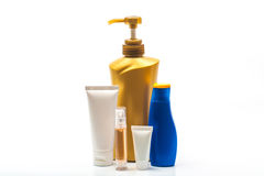 Plastic bottles of body care and beauty products Royalty Free Stock Image