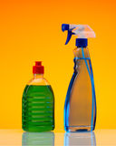 Plastic bottles of cleaning products Stock Photo