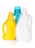 Plastic bottles of cleaning products stock photos