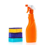 Plastic bottles of cleaning products and sponges . Royalty Free Stock Photo