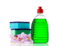 Plastic bottles of cleaning products and sponges Stock Photo