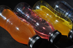 Plastic bottles with colored liquid Stock Image