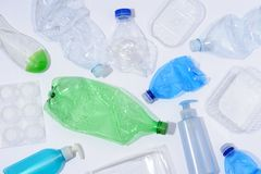 Plastic bottles and containers royalty free stock photos