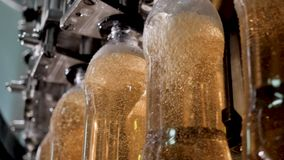 Plastic bottles on conveyor and are filled liquid, beverages, alcohol, beer.