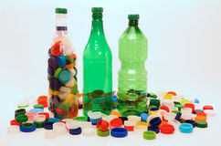 Plastic bottles and cups for recycling Royalty Free Stock Photos
