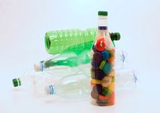 Plastic bottles and caps for recycling Royalty Free Stock Photos