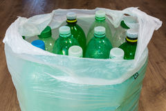 Plastic bottles. Ecological separation of household waste. Empty pet bottles in a plastic bag royalty free stock image