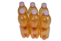 Plastic bottles. Ecological separation of household waste. Orange plastic bottles on white background isolated Royalty Free Stock Photo