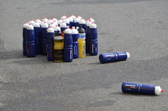 Plastic bottles with energy drink at a triathlon Stock Photos