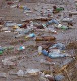 Plastic bottles garbage in river Royalty Free Stock Photos