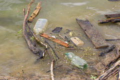 Plastic bottles and garbage waste on the shore 2 Stock Photo