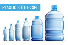 Plastic Bottles Icon Set. Colored realistic plastic bottles icon set for water in different sizes and for different target audiences vector illustration vector illustration